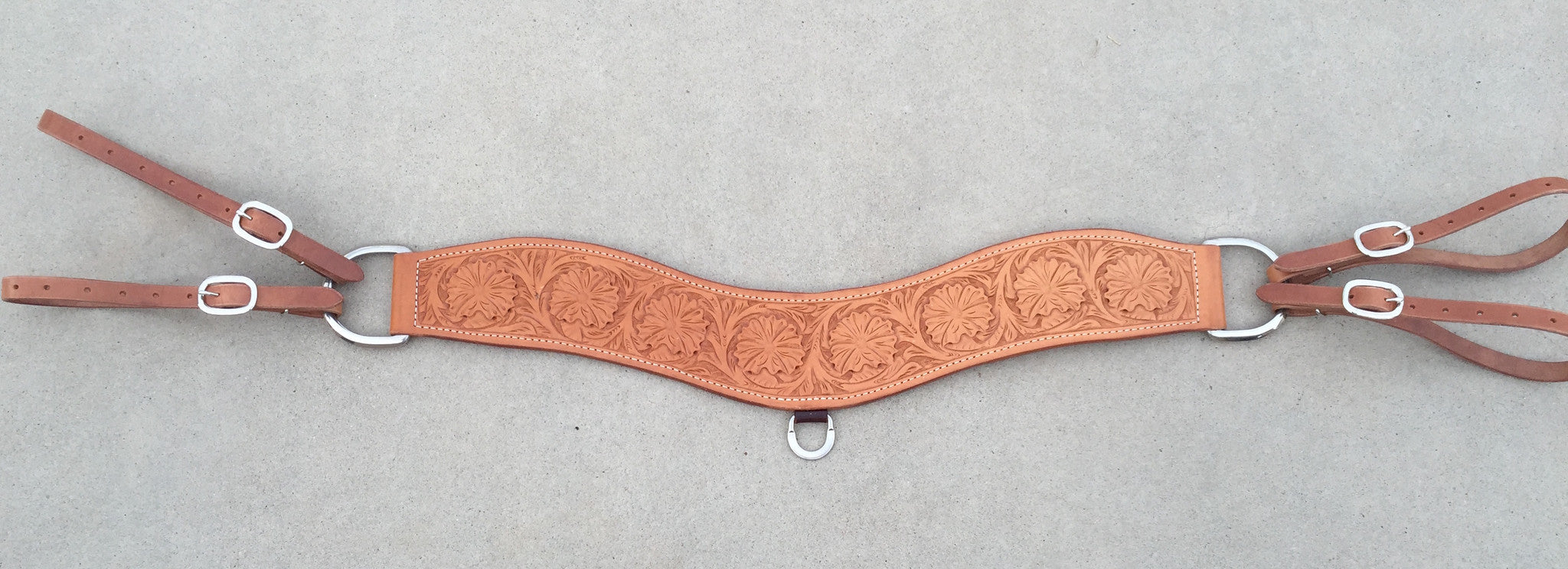 Tripper Roping Breast Collar Wild Rose Tooling - The Sale Barn - 1