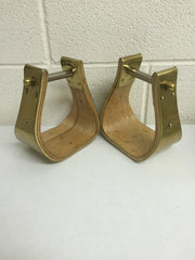 Brass Wide Platform Stirrups - The Sale Barn - 1