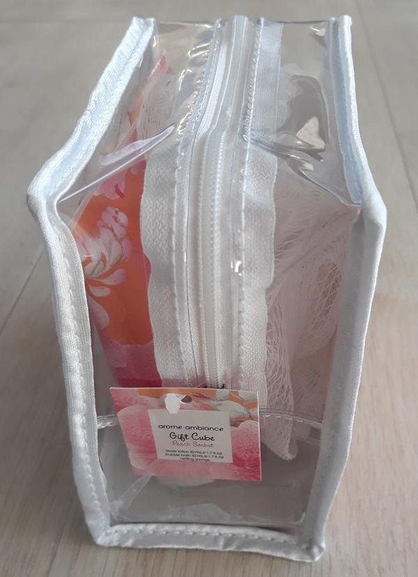 Arome Ambiance Gift Cube (Peach Sorbet)- this is a beautiful, well packaged gift cube containing the below luxurious items, to spoil yourself or a loved one. Arome Ambiance Gift Cube set brought to you by LoveMy Makeup NZ