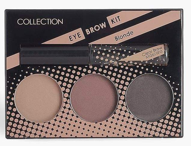 Collection EyeBrow Kit (Blonde) - A set of 3. Get brows with pow in one handy compact! 3 blendable brow powders, available in Blonde and Brunette. Slanted brush application brush and built-in mirror for precision on-the-go. Comes with a clear brow mascara to set the look in place. Collection Eyebrow Kit (Blonde) At LoveMy Makeup NZ