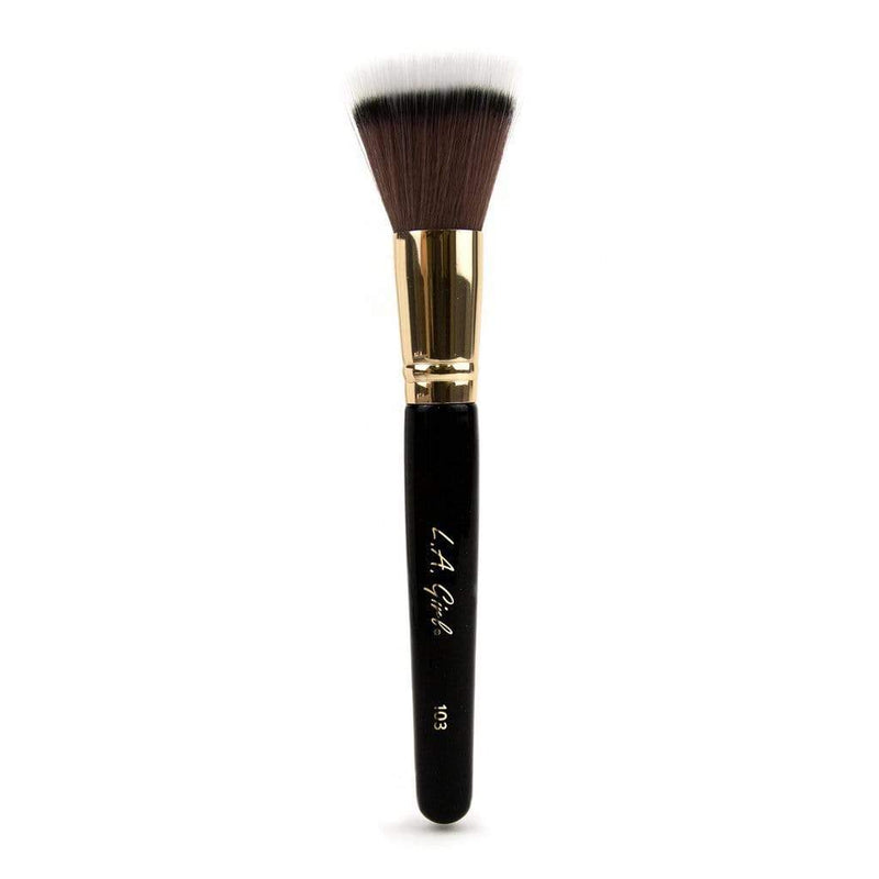 LA Girl Pro Brush - 103 Stippling Makeup Brush - Dual fiber brush picks up liquids & creams to distribute product evenly for an airbrushed finished effect. L.A. Girl Pro.Brushes are hand crafted by skilled brush masters, featuring custom glistening lacquered handles made of authentic birch wood from sustainable forests. cheap makeup, cosmetic & clearance sales at the LoveMy Makeup online store NZ