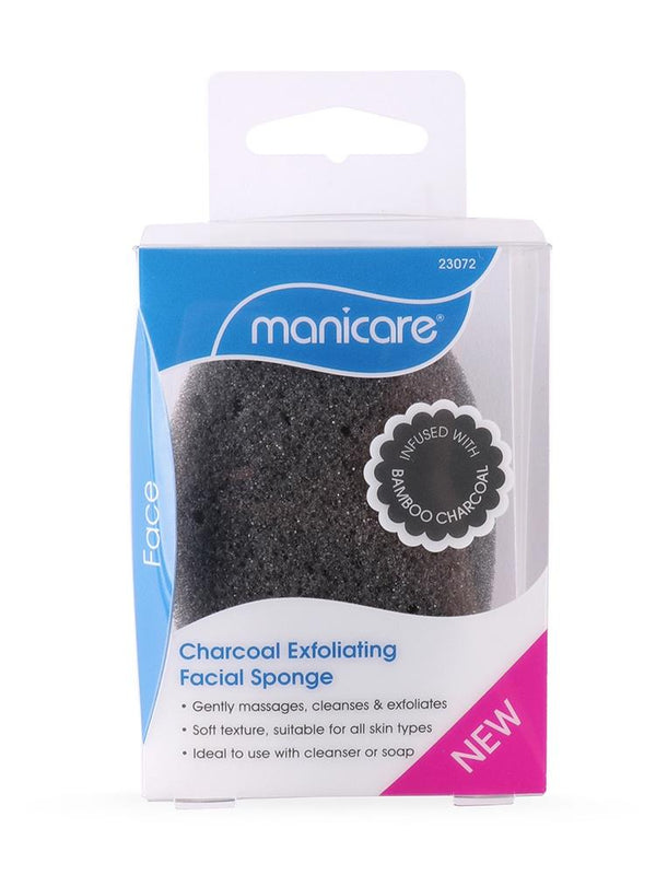 Manicare Charcoal Exfoliating Facial Sponge -  Soft-textured facial sponge suitable for gently massaging, cleansing & exfoliating for all skin types. Ideal to use with cleanser or soap. Infused with Bamboo Charcoal. Charocal is known for its cleansing property to help draw out impurities. Use with your favourite cleanser to gently massage, cleanse & exfoliate dead skin cells on your face to reveal soft and glowing skin. Manicare Charcoal Exfoliating Facial Sponge at Lovemy Makeup NZ