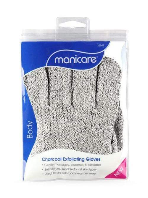 Manicare Charcoal Exfoliating Gloves - Infused with Bamboo Charcoal. Charocal is known for its cleansing property to help draw out impurities. Use in conjunction with your favourite body wash to gently massage, cleanse & exfoliate dead skin cells on your body to reveal soft and glowing skin.. Manicare Charcoal Exfoliating Gloves at Lovemy Makeup NZ
