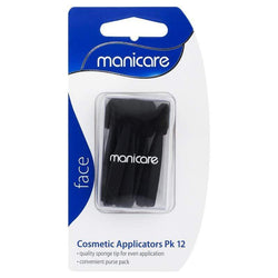Manicare Cosmetic Applicators Pk 12 - Pack of 12 quality sponge tips for even eye make-up application in a convenient purse pack. Manicare Cosmetic Applicators are essential make-up tools with high quality, finely textured sponge tips for smooth, even application of eye make-up cheap makeup, cosmetic & clearance sales at the LoveMy Makeup online store NZ