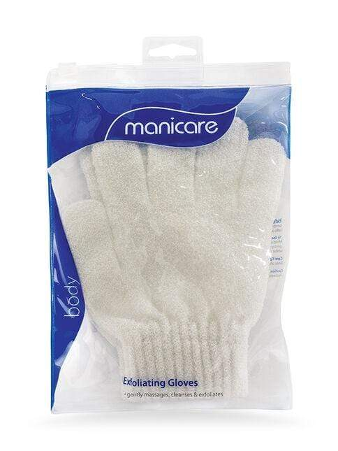 Manicare Exfoliating Gloves (White) - Manicare Exfoliating Gloves can be used while bathing or showering to gently massage cleanse and exfoliate dead skin cells away from the body. May be used separately or in conjunction with soaps, gels or scrubs. Manicare Exfoliating Gloves at Lovemy Makeup NZ