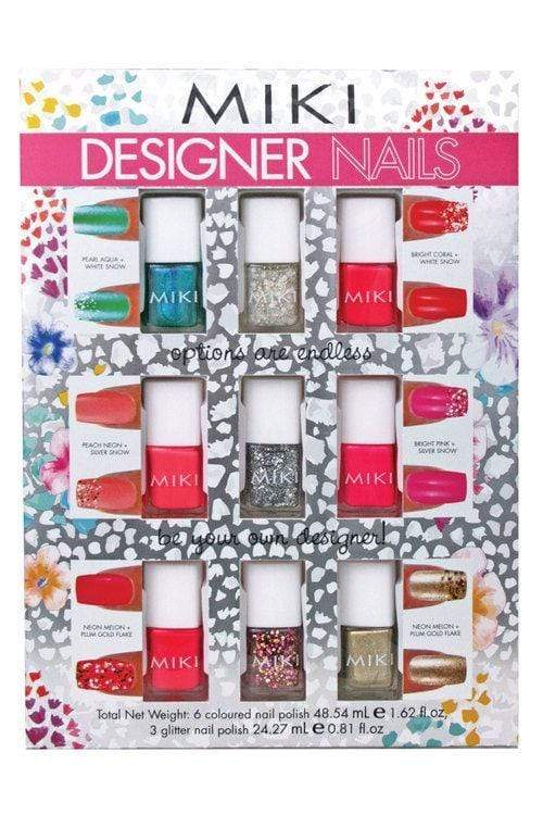 Miki Designer Nails set (6 nail polishes) with glitter - makeup nz cosmetics beauty la girl
