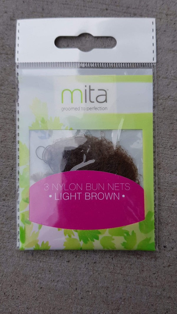 Mita Hair Net (Light Brown 3pk ) - Perfect for holding hair securely in a bun. Mita Hair Net at LoveMy Makeup NZ