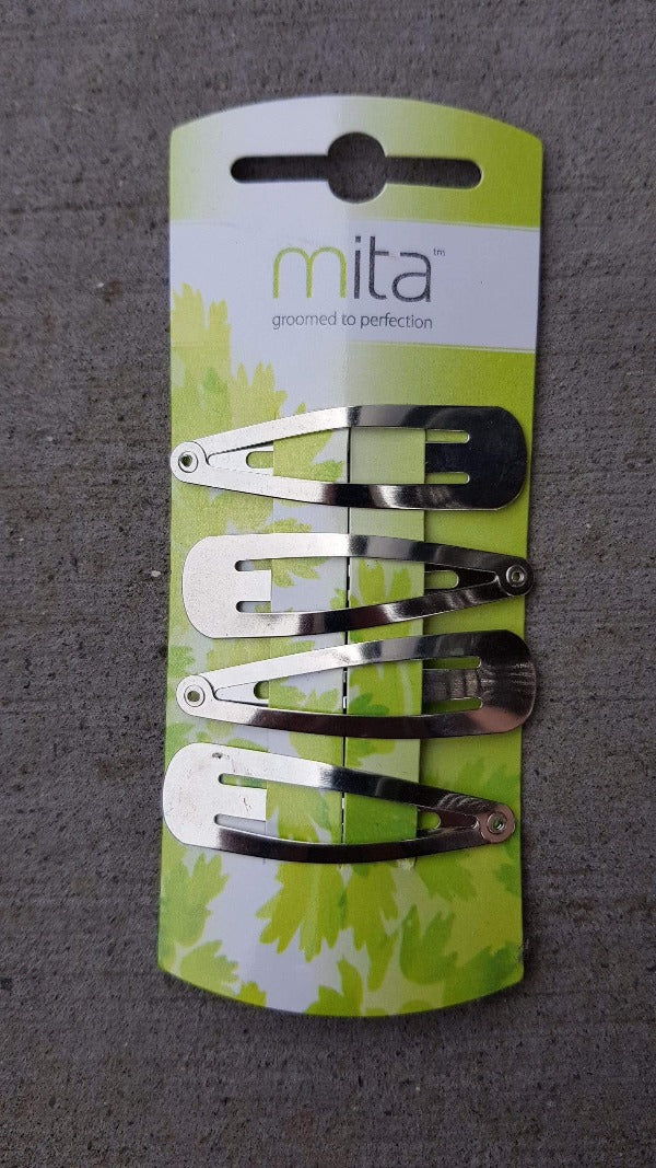 Mita Spring Clip Silver 4pk - Snap back hair clips for holding your hair securely. Mita Clips at LoveMy Makeup NZ