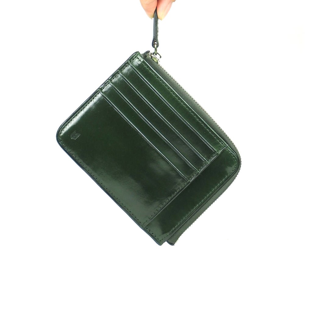 Card zip purse /Moss GREEN