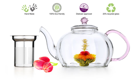 clear glass tea pot pink royal