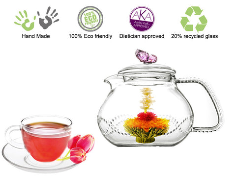 Teapot Cup Saucer Set Glass Teapot Pink Butterfly 24 oz / 710 ml with 2 Sets of Cup Saucer F 5 oz Non Drip Lead Free
