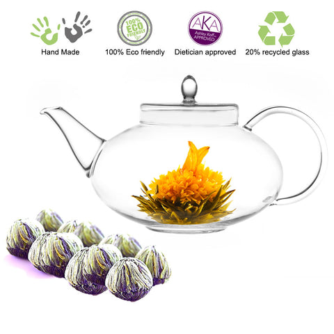 Blooming Tea Teapot Gift Set Glass Teapot Harmony 42oz /1242 ml and Fab Flowering tea 12 ct