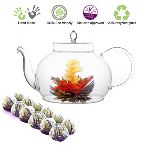 Blooming tea Gourmet Gift Set Teapot Polo 45 oz / 1330 ml and Tea samplers