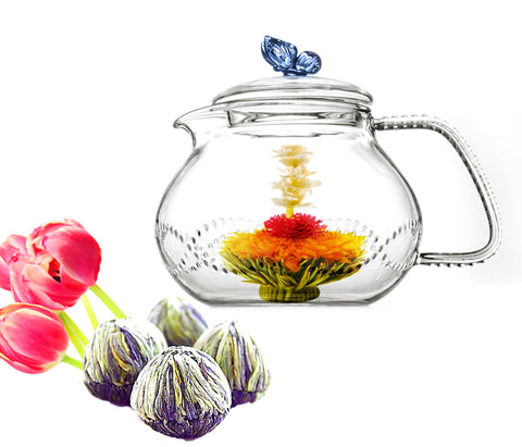 Tea gift Teapot Butterfly 24 oz / 710 ml and Fab Flowering Tea 4 cts