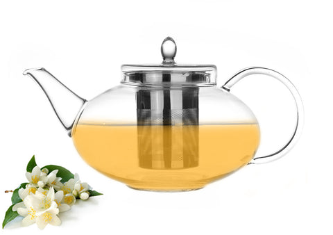 Gourmet tea gift Glass teapot Harmony 42 oz/ 1242 ml and Loose Tea Jasmine Green 3.5 oz or 100g