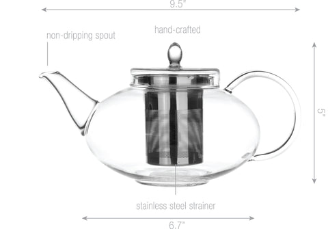 Teapot Cup Saucer Set Glass Teapot Harmony 42 oz with 2 Sets of Cup Saucer F 5 oz Non Drip Lead Free