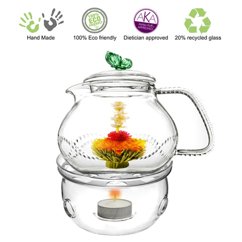 Teapot Warmer Gift Set Clear Glass Teapot With Infuser Butterfly 710ml 24 oz and Tea warmer Cozy