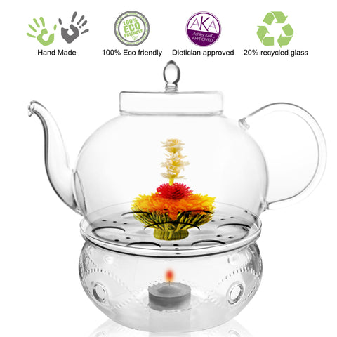 Teapot Gift set Teapot Polo 45 oz / 1330 ml with Glass Tea warmer Wave