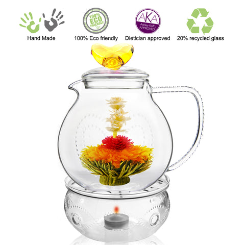 Teapot Gift set Teapot Love 34 oz / 1000 ml with Tea warmer Wave