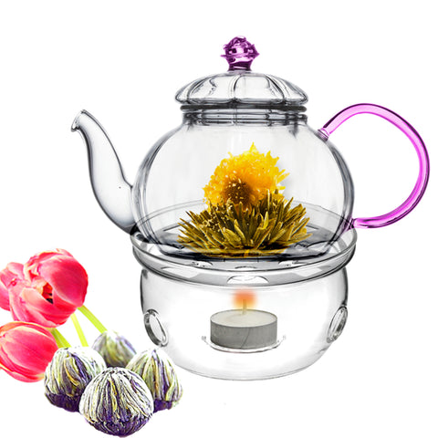 Tea Set Teapot Juliet 20 oz / 590 ml With Tea Warmer Cozy and Fab Flowering Tea 4 cts