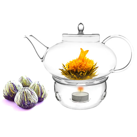 Tea Set Teapot Harmony 42 oz / 1242 ml With Tea Warmer Cozy and Fab Flowering Tea 4 cts