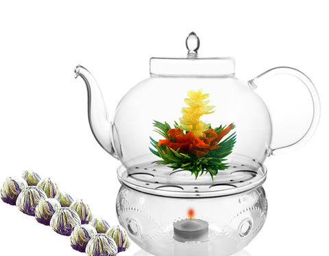 Blooming Tea Teapot Warmer Set Polo 45 oz /1330 ml Tea Warmer Wave and Blooming Tea Flowering Tea 12 ct hot or iced