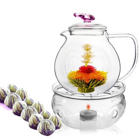 Gourmet Tea Gift love 34 oz / 1000 ml Fab Flowering Tea 12 ct and Tea Warmer Wave