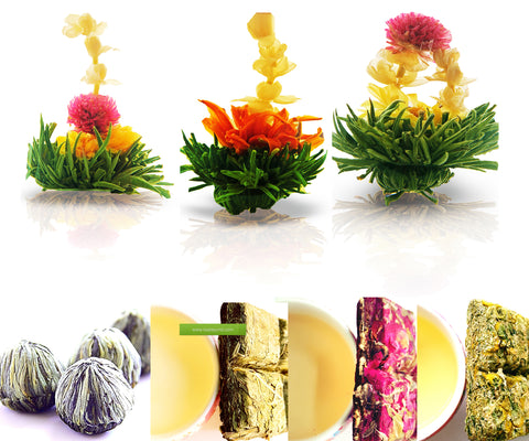 Tea Samplers Assorted Tea Gift Zen Flowering Tea 3 packs Rose Herbal Tea 20g Mint Herbal Tea 20g Chamomile Herbal Tea 20g White Blooming Tea Teabloom Gift Set