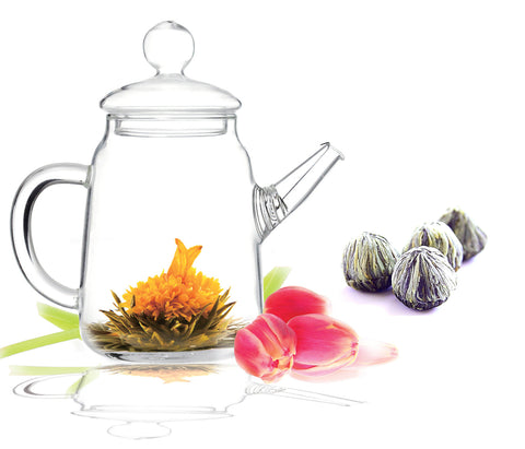 Blooming tea gift set tea pot  DUO and blooming tea 4 counts