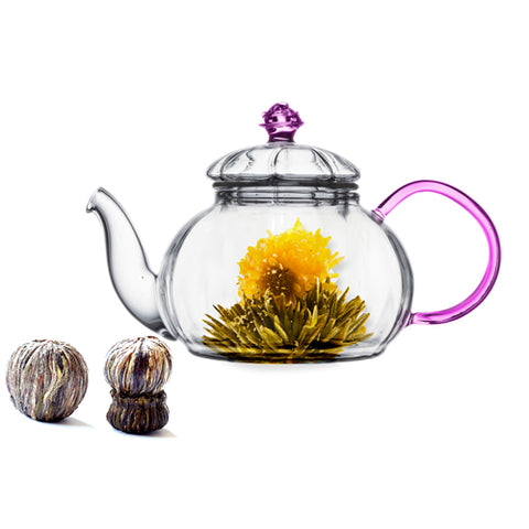 Gourmet Gift Teapot Juliet 20 Oz and Blooming Tea 2 Cts