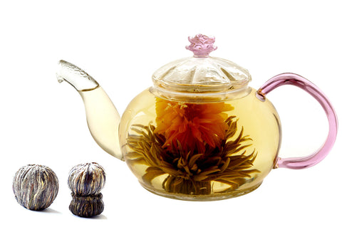 blooming tea gift set teapot with infuser Juliet 4 counts