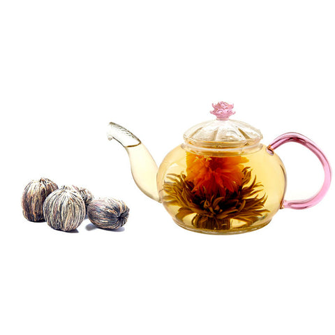Gourmet Gift Teapot Juliet 20 Oz and Blooming Tea 4 Cts