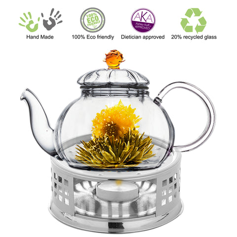 Tea Beyond Teapot gift set Teapot Juliet 20 oz with stainless steel tea warmer Alex lead free glass non drip