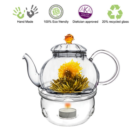 Teapot Warmer Gift Set Glass Teapot with Infuser Juliet 20 oz / 590 ml with Tea Warmer Cozy