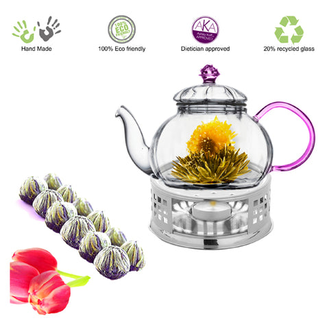 Flowering Tea Starter Kit Clear Glass Tea Pot Pink Juliet 20 oz English Breakfast Blooming Tea 12 ct with Tea Warmer Iced Or Hot