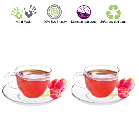 Cup and Saucer F 5 oz Set Of 2 Lead Free
