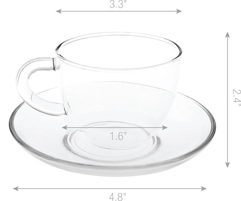 Cup and Saucer F, 5-Ounce, Set of 4 Lead Free