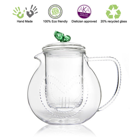 Artful Glass Teapot Green Butterfly Love 34 oz 1000ml Lead Free Non Drip Eco Friendly