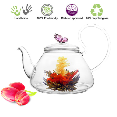 Artful Glass Teapot Pink Butterfly Pi 35 oz / 1035 ml Lead Free Non Drip Eco Friendly