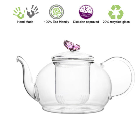 Artful Glass Teapot Butterfly Polo 45 oz /1330ml Lead Free Non Drip Eco Friendly