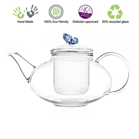 Artful Glass Teapot Butterfly Harmony 42 oz /1242 ml Lead Free Non Drip Eco Friendly