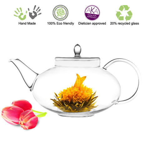 Artful Glass Teapot Harmony with Glass Strainer 42 oz/1242 ml Lead Free Non Drip Eco Friendly