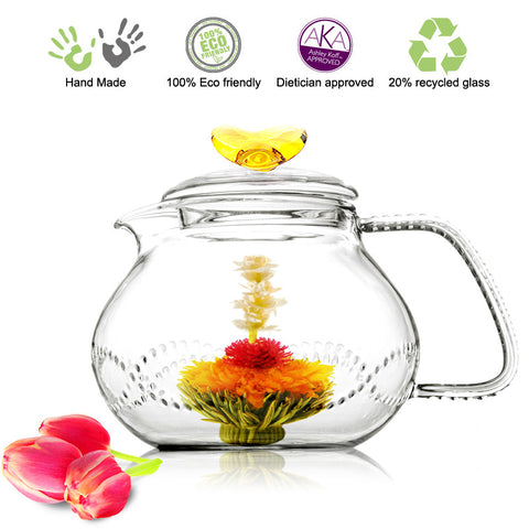 Artful Glass Teapot Love Butterfly 24 oz / 710 ml Lead Free Non Drip Eco Friendly