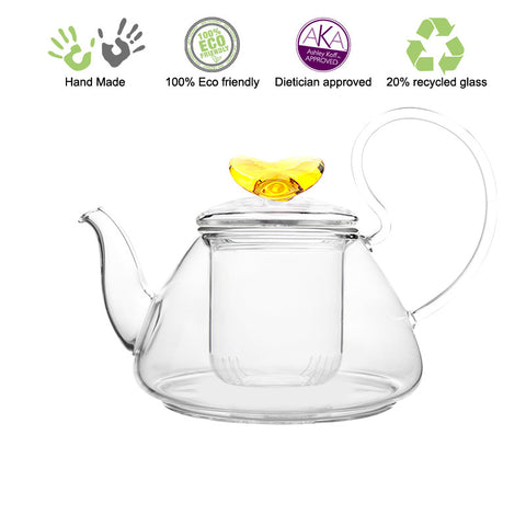Artful Glass Teapot with Infuser Amber Love Pi 35 oz / 1035 ml Lead Free Non Drip Eco Friendly