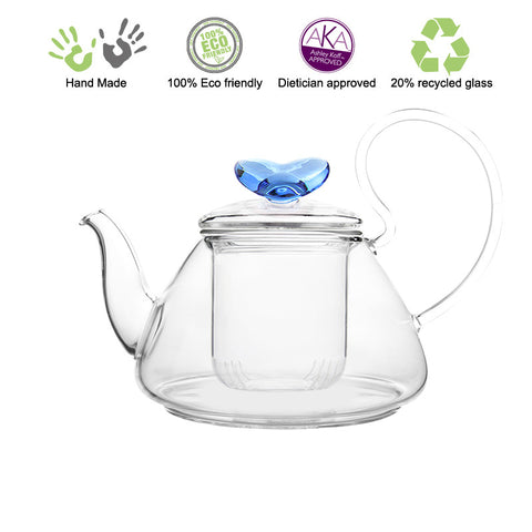 Artful Glass Teapot with infuser Blue Love Pi 35 oz / 1035 ml Lead Free Non Drip Eco Friendly