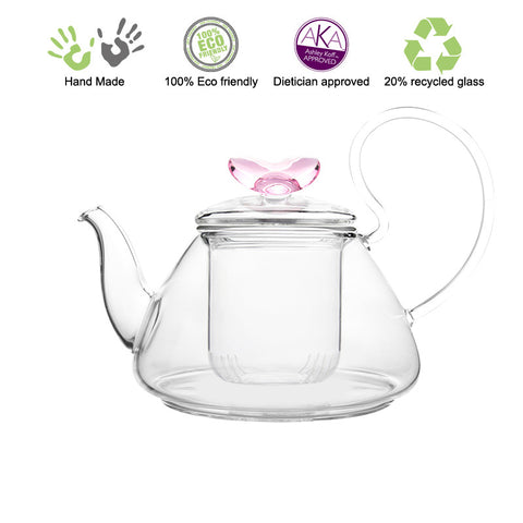 Artful Glass Teapot with infuser Pink Love Pi 35 oz / 1035 ml Lead Free Non Drip Eco Friendly