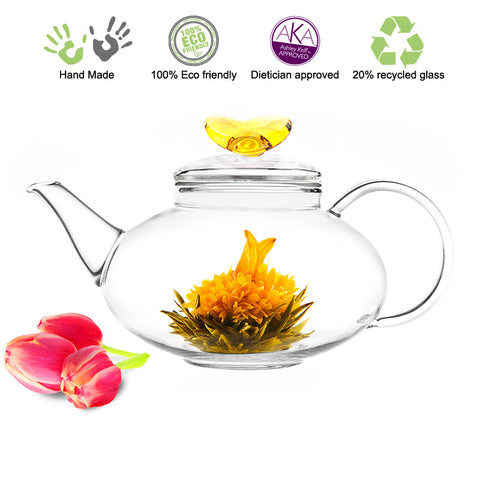 Artful Glass Teapot Love Harmony 42 oz / 1242 ml Lead Free Non Drip Eco Friendly