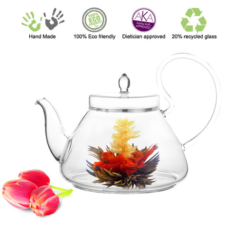 Artful Glass Teapot Pi with a glass strainer 35 oz / 1035 ml Lead Free Non Drip Eco Friendly