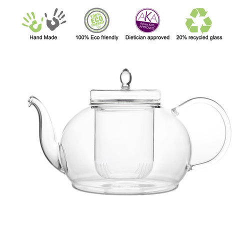 Artful Glass Teapot with Glass Strainer Polo 45 oz / 1330 ml Lead Free Non Drip Eco Friendly