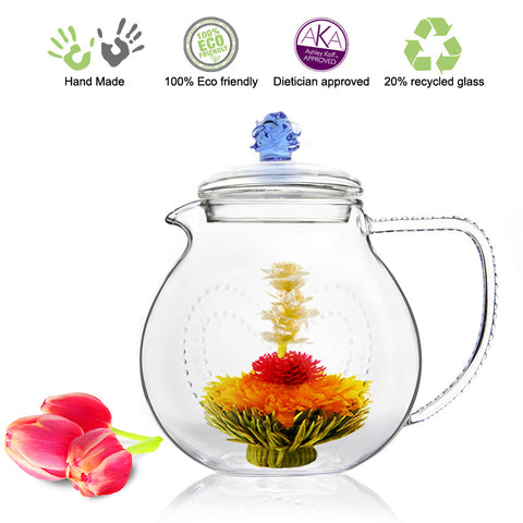 Artful Glass Teapot Blue Rose Love 34 oz / 1000 ml Lead Free Non Drip Eco Friendly